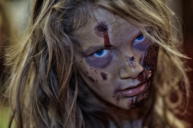I had fun desaturating this girl's zombie face, but I couldn't make myself desaturate those blue eyes!