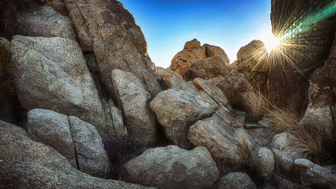 Speaking of starbursts, it's not all about the trees at Joshua Tree. There's lots of rocky fun, too! I liked how the solar flare worked on this one.