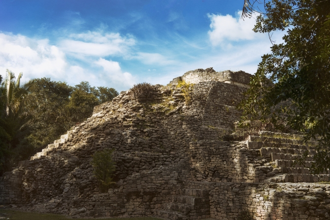 I began the day teaching about the functions of religious cosmogonies, so I think it was entirely appropriate to end it by editing a photo of this Mayan pyramid from Kohunlich, near Costa Maya, Mexico.
