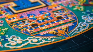 A detail shot of the outer courtyard of the mandala. I was impressed with the detail in the figures of various creatures.