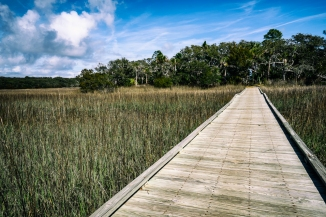 A boardwalk over the salt marsh in Edisto Beach State Park. This was on the Scott Creek Trail.