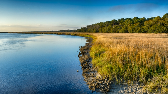 Golden Hour at the Big Bay Creek at Edisto Beach State Park in South Carolina. This was taken on the boardwalk that crosses the salt marsh.