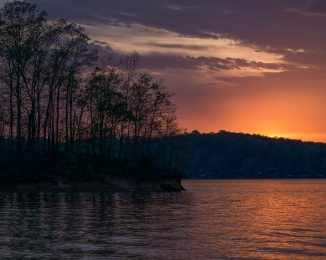 "While I love wide angle landscape photos, I am beginning to see the different stories I can tell with the telephoto. Here is the same sunset on Lake Hartwell from , as Obi-Wan would say, ""a different point of view."""